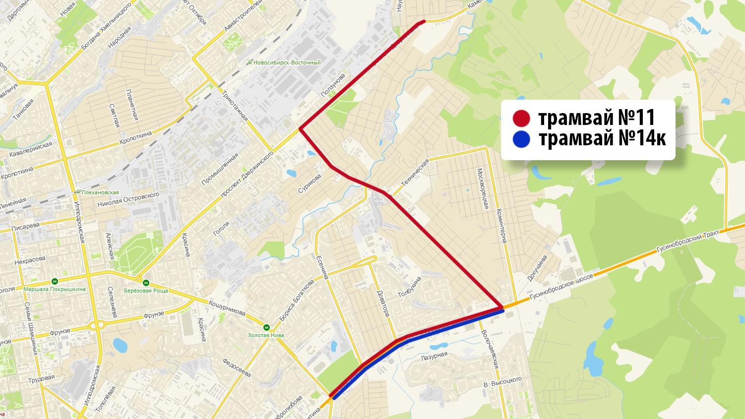 """На ближайших выходных в Новосибирске будет работать дополнительный трамвайный маршрут <nobr class=""""_"""">№ 14к</nobr>, а трамваи <nobr class=""""_"""">№ 11</nobr> будут ходить по изменённой схеме"""