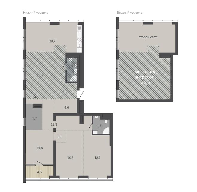 Второй уровень квартиры можно превратить в еще одну спальню или лаунж-зону с приглушённым светом