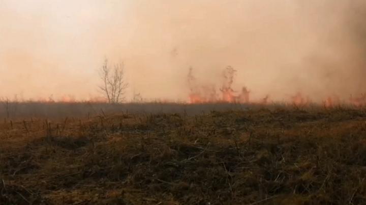 Видео: гора с огромным крестом загорелась под Красноярском