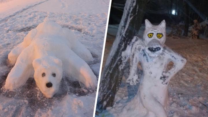 Крысовик, Патрик из «Спанч Боба» и влюбленная пара: ростовчане лепят необычных снеговиков
