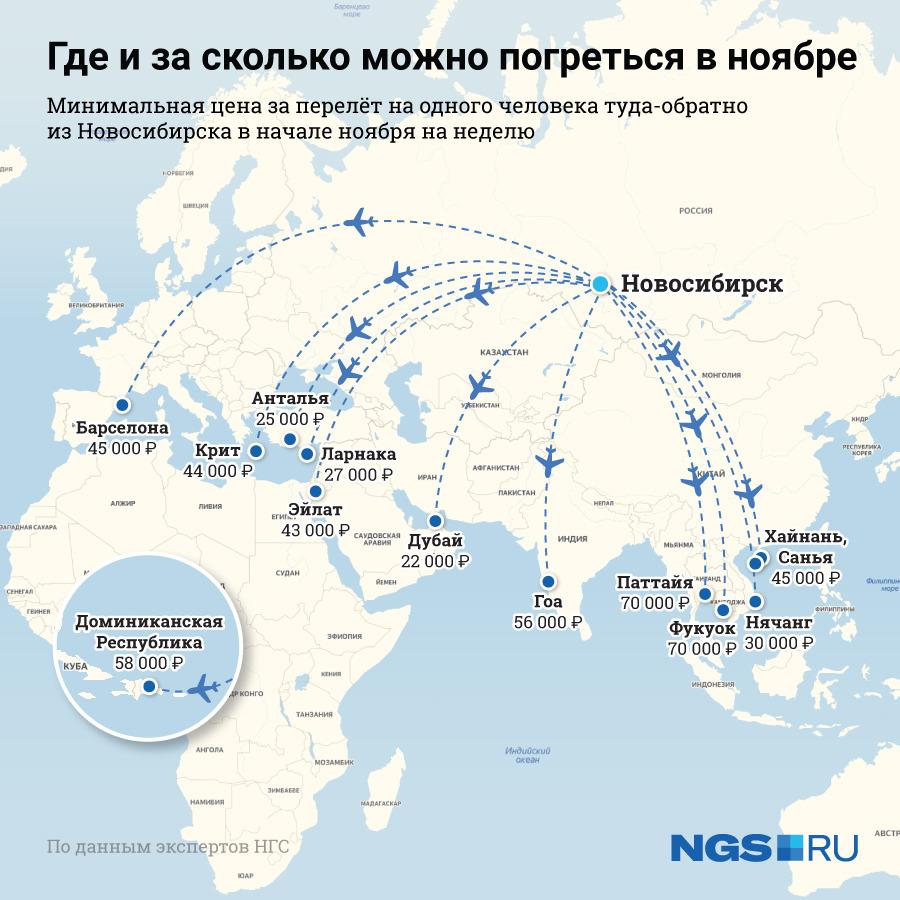 Минимальная цена перелёта — 22 тысячи рублей