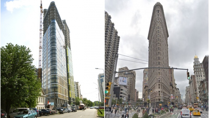 Превращаемся в Нью-Йорк: в Екатеринбурге построили небоскрёб, похожий на дом-утюг наМанхэттене