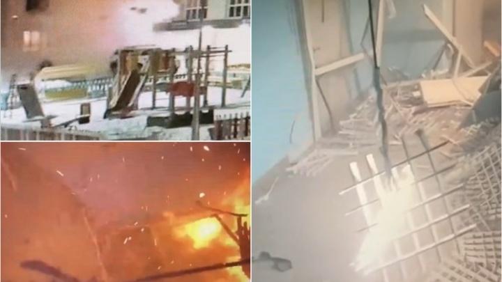 Появилось видео момента взрыва газа на улице Шарова