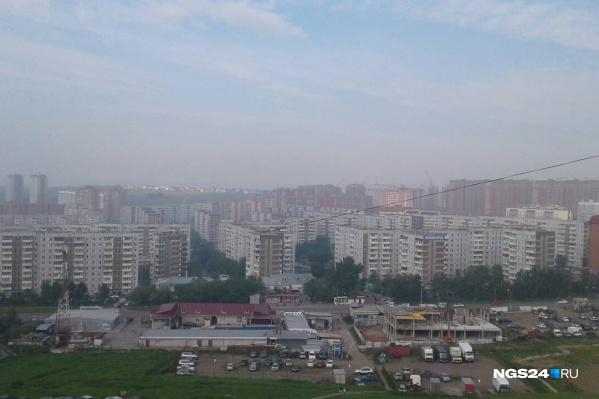 Вид на Красноярск 7 июня.Смог в утренние часы затянул город