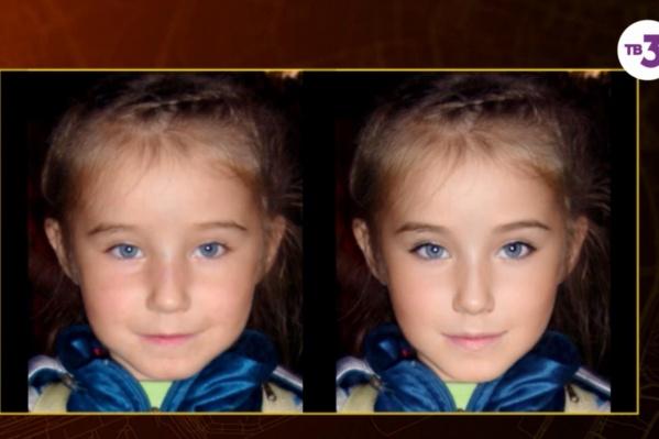 Авторы фильма сделали фотопрогрессию Кати, как она может выглядеть спустя девять лет. Сейчас девочке должно быть 14 лет. Слева на снимке — Катя в пятилетнем возрасте (когда она пропала). Справа — фотопрогрессия девочки, сейчас она может выглядеть примерно так