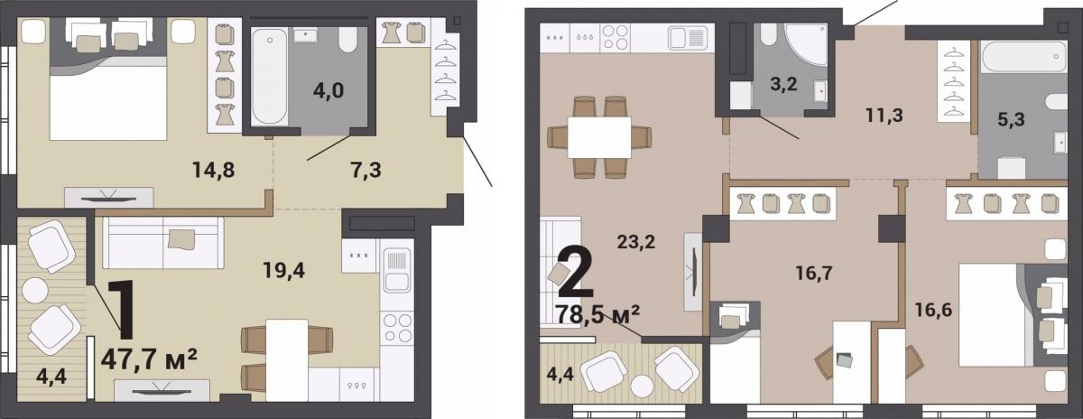 Однокомнатные квартиры запроектированы с 2-го по 9-й этаж. В двухкомнатных квартирах легко обыграть сценарии жизни разных типов семей. Соседние квартиры можно объединять