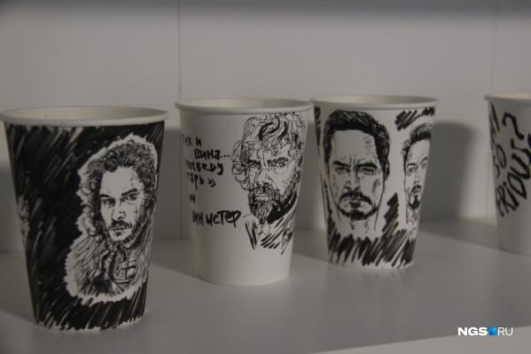 Главной фишкой кофейни были портреты на бумажных стаканах