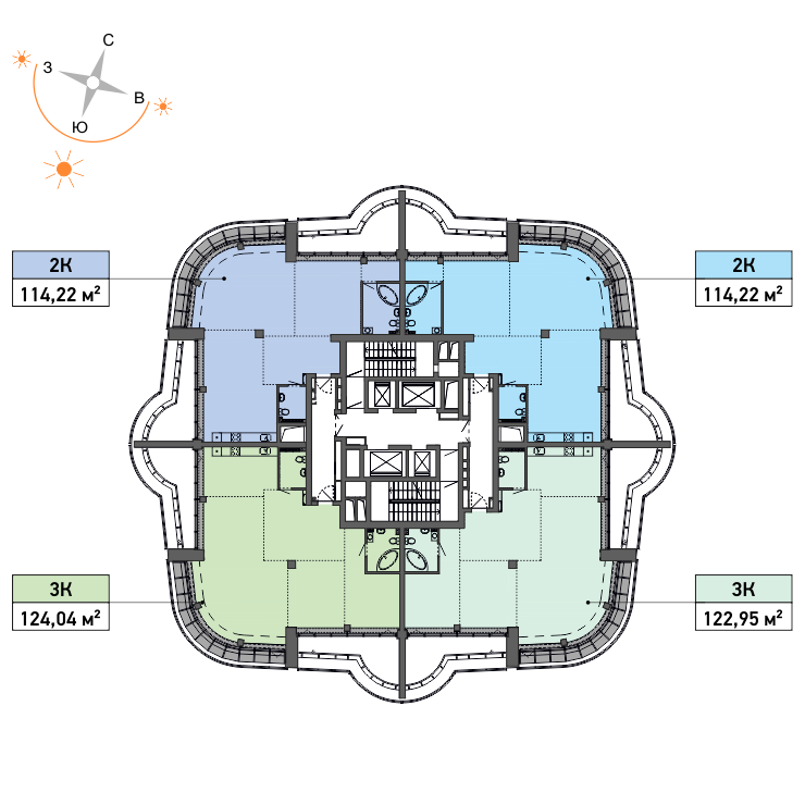 Типовой план 37-го этажа. Пентхаусы со свободной планировкой