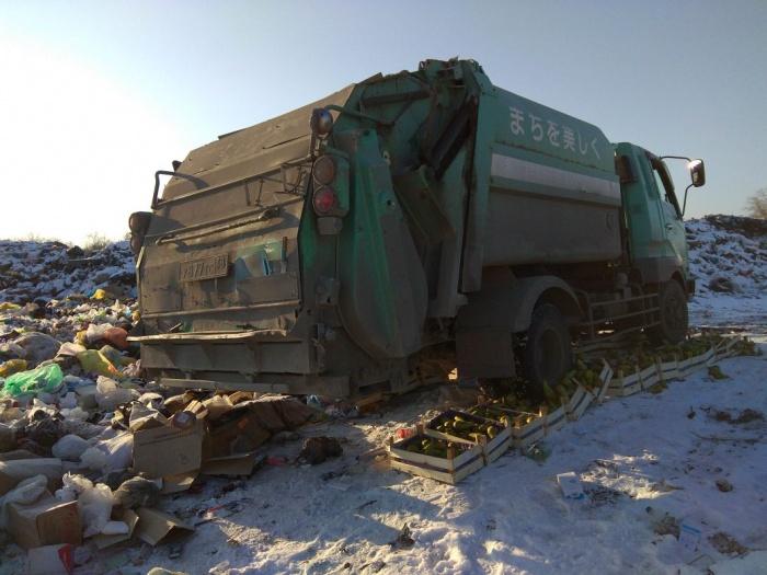 По санкционным фруктам проехался тяжёлый грузовик