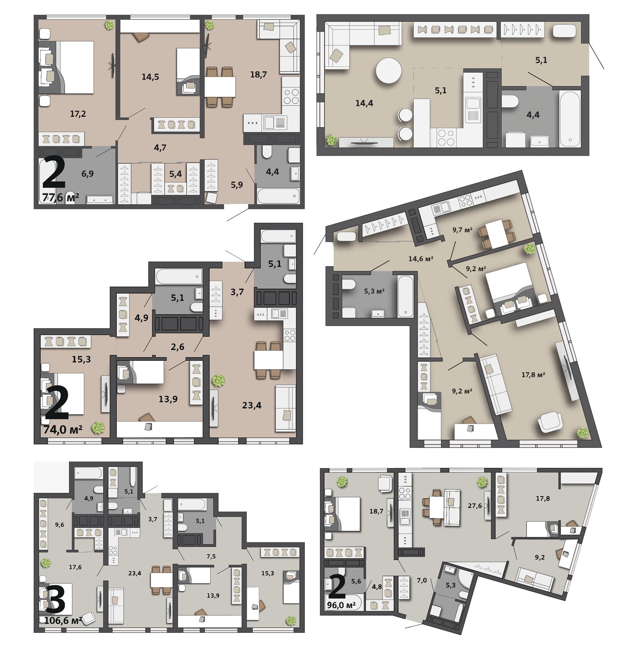 Галерея планировок квартир в первом доме жилого квартала «Татлин». Сдаваться квартиры будут с отделкой под чистовую