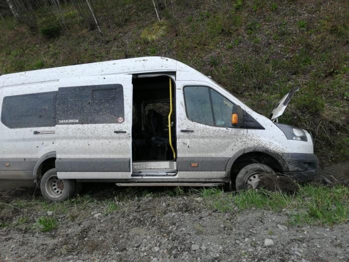 Водитель не справился с управлением, и микроавтобусFord Transit опрокинулся