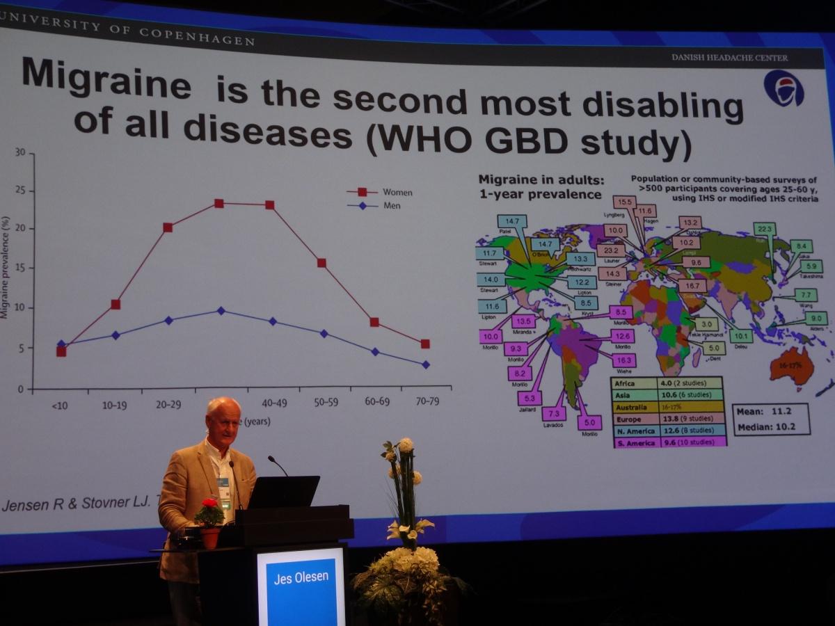 Профессор Jes Olesen представляет почетную лекцию о мигрени на конгрессе Европейской академии неврологии в Лиссабоне (2018 год)
