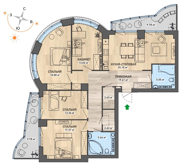 В многокомнатных квартирах башен — панорамные окна(вариант планировки)