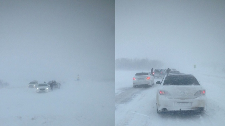 На трассе под Таганрогом в снегу застряли десятки машин