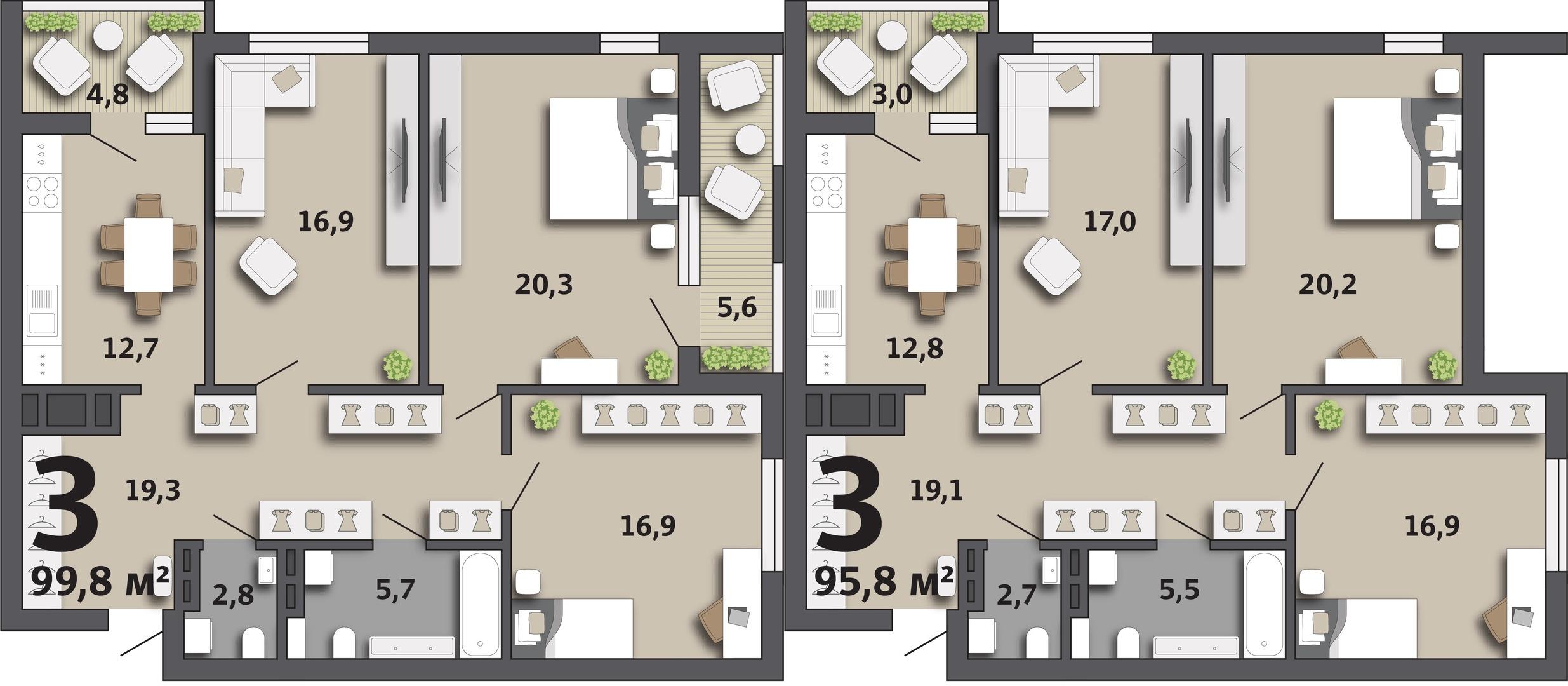 Примеры планировки трехкомнатных квартир. Еще больше увеличить пространство можно за счет коридора и лоджий