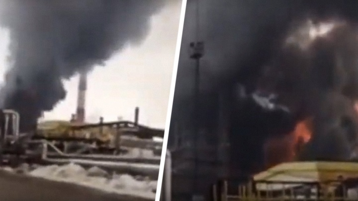 Десятиметровый столб пламени: появилось фото пожара наНовокуйбышевском НПЗ