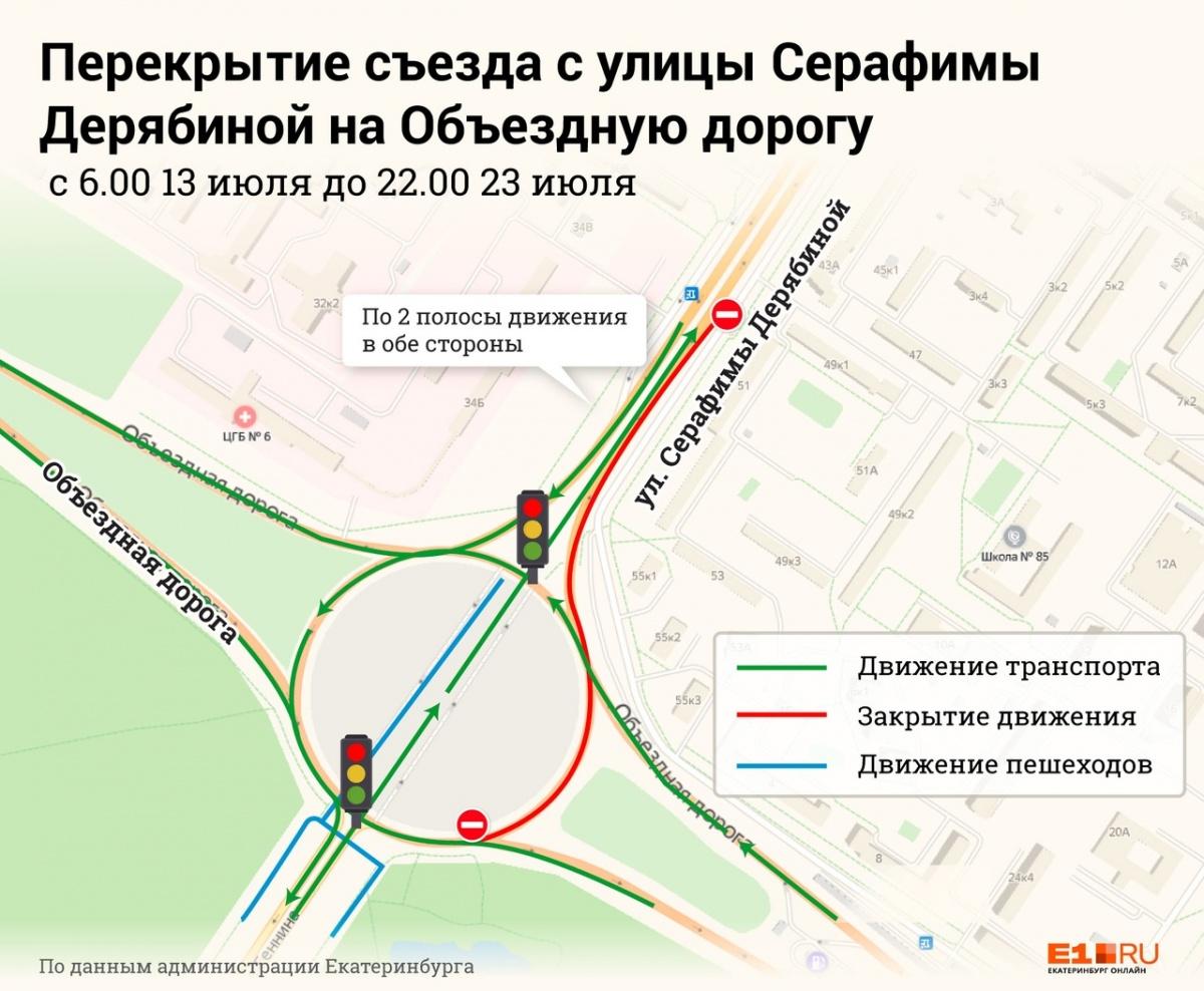 Из-за строительства развязки на 10 дней перекроют часть дороги по Серафимы Дерябиной