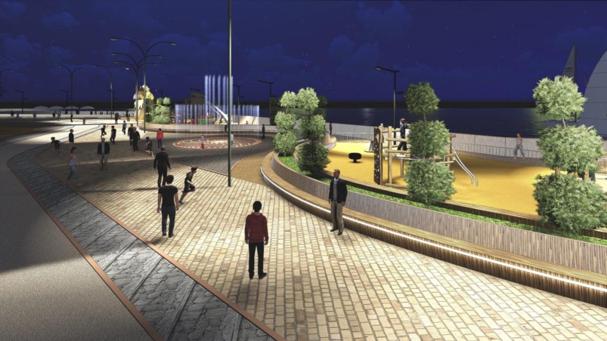 Ночной вид на фонтан и детские площадки на набережной