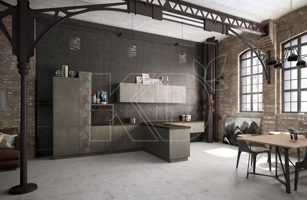 Фасады под бетон и другие материалы стиля лофт — модный тренд, благодаря которому кухня выглядит, как неотрывная часть всего жилого пространства