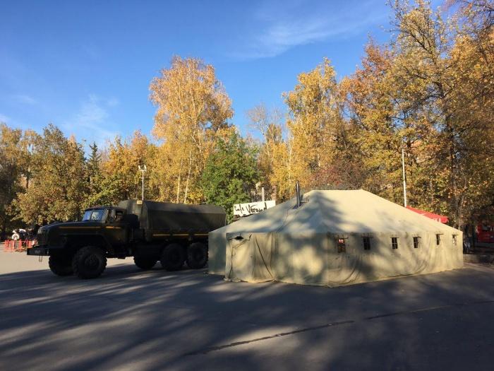 Росгвардия начала разбивать лагерь примерно в 15:00