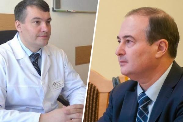 Бывший министр здравоохранения Виталий Денисов и действующий министр Борис Немик