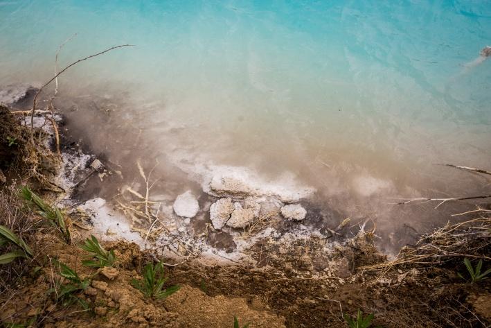 Оседающий кальций засыхает на побережье причудливыми формами, словно крошечные коралловые рифы