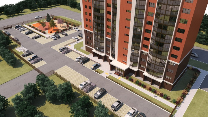 В Первомайском районе строят яркий жилой комплекс с красивыми подъездами