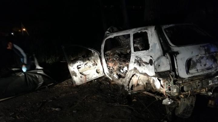 Под ЕкатеринбургомHyundai влетел в дерево и загорелся, сгорели двое