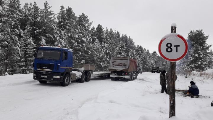 Жители Коми остановили грузовики с трубами для строительства прямого пути на Шиес