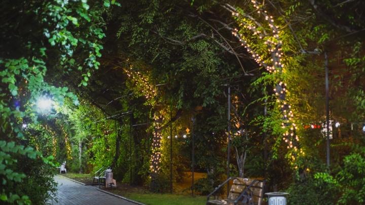 В парке Гагарина арку из деревьев решили украсить гирляндой. Получилось волшебно