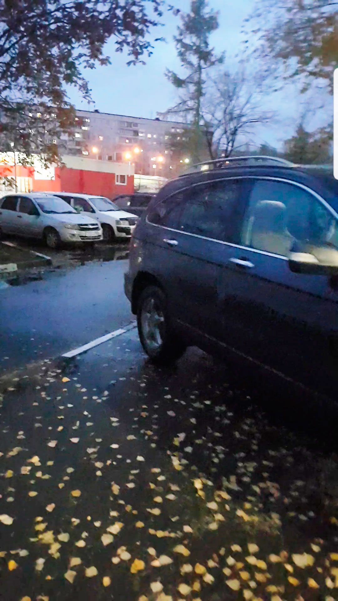 Припаркованный кроссовер приходится обходить