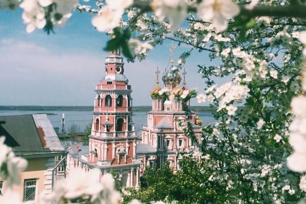 Распускающиеся белые цветы придают нижегородским видам ещё больше нежности и очарования
