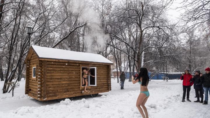 По «Берёзовой роще» пронеслась передвижная баня с девушками в купальниках
