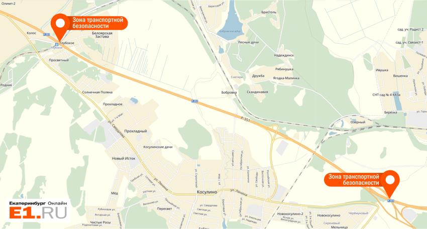 На карте отмечены места на Тюменском тракте, где установлены камеры