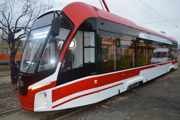 Это трамвай «Львёнок», который недавно тестировали в Перми. Возможно, для города закупят вагоны, похожие на него