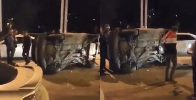 Легковушка перевернулась набок после массового ДТП на Советском шоссе