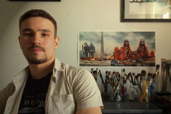 Роман Баянов со своей акварелью «Как закалялась сталь»