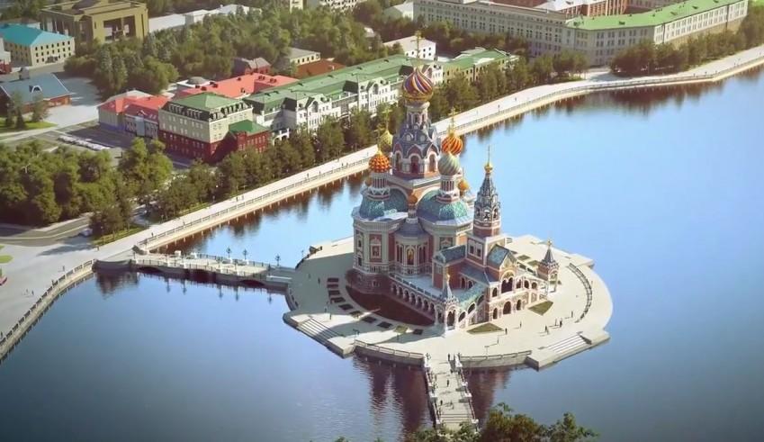 Такой была первоначальная идея — построить храм святой Екатерины на акватории Городского пруда, но часть горожан выступила против