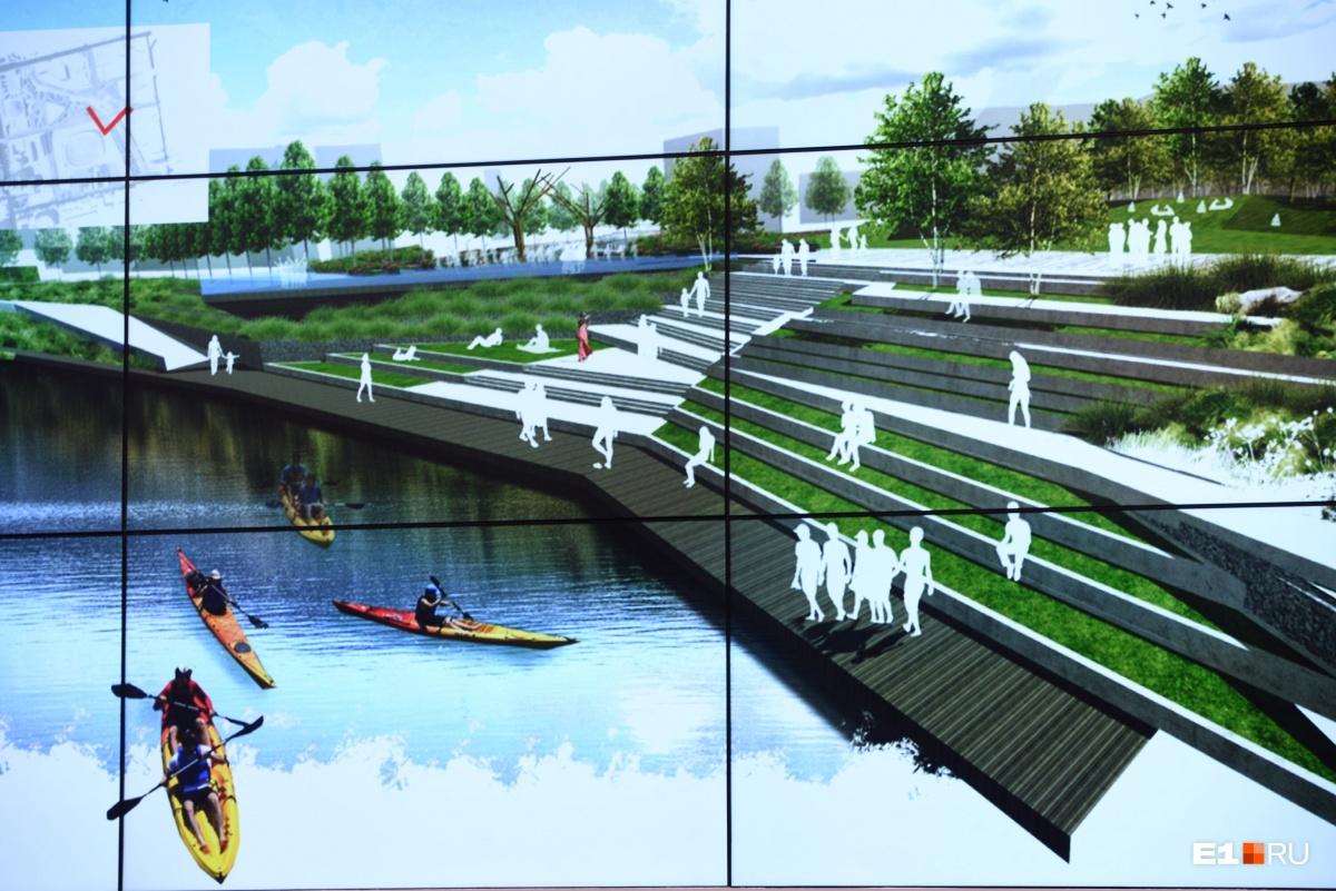 По планам будет сделан такой многоуровневый подступ к воде