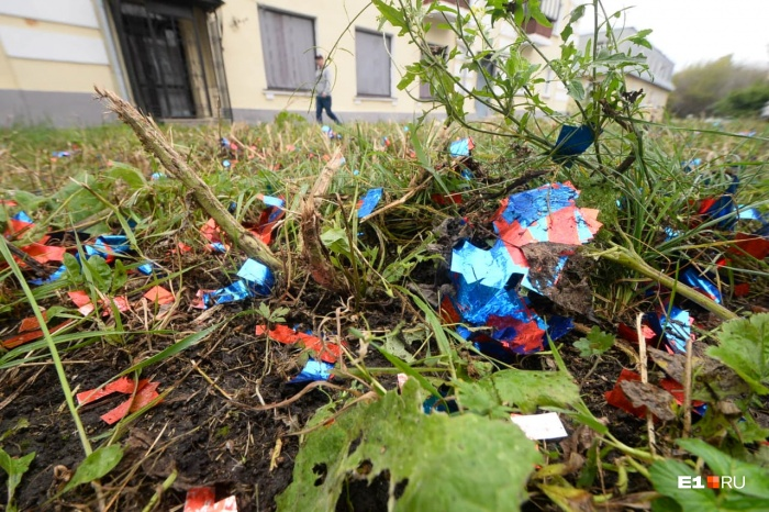 Конфетти разлетелось по газонам и тротуарам