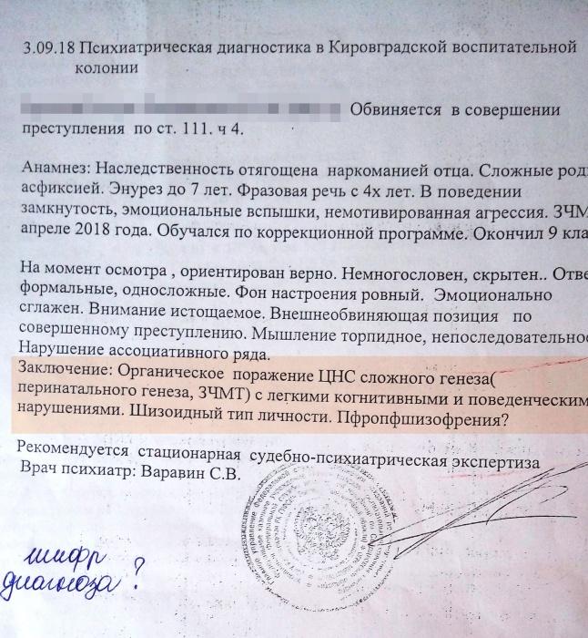 В Кировградской колонии психиатр диагностировал у одного из подростков психическое расстройство. Впрочем, это не исключает вменяемости.(пфропшизофрения — психоз с симптоматикой шизофрении)