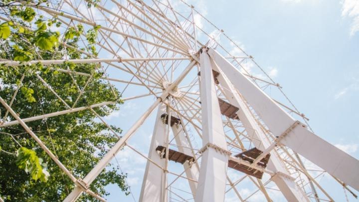 В парке Гагарина приступили к сборке нового колеса обозрения