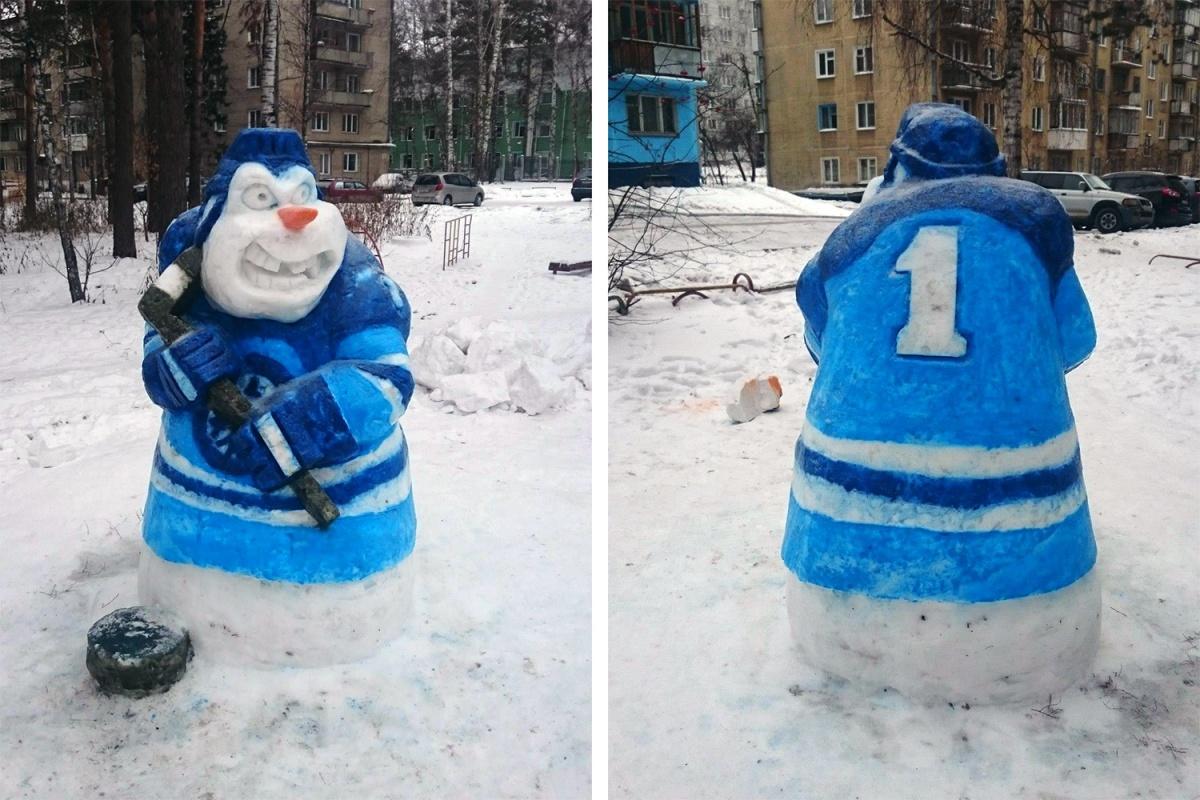 Снежный талисман хоккейной«Сибири» слепили за неделю