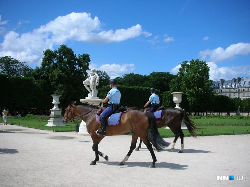 Что интересно — день и ночь сад патрулирует доблестная конная французская жандармерия
