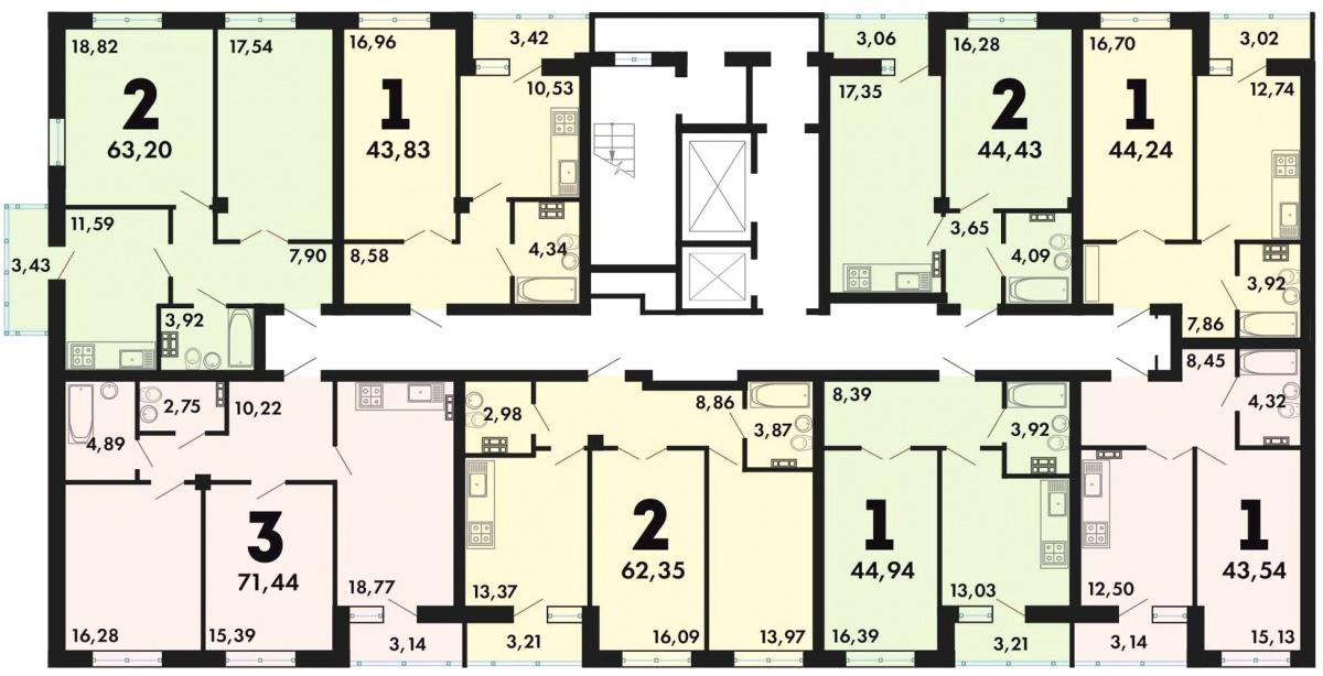 В квартирной шахматке новой очереди ЖК «Альфа» представлены одно-, двух- и трёхкомнатные квартиры вариативных планировок