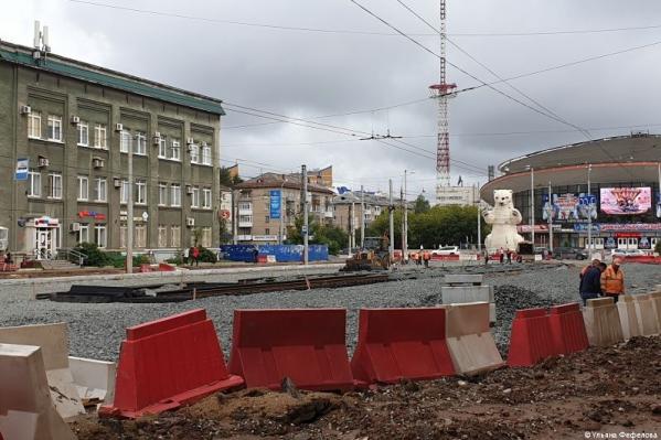 Ремонт на улице Крупской напротив цирка идет полным ходом