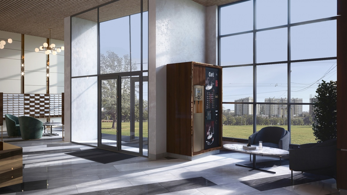 Отдохнуть от работы можно будет в холле с панорамным остеклением