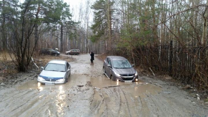 Денег нет: власти не запланировали ремонт дороги, в которой увязли два автомобиля