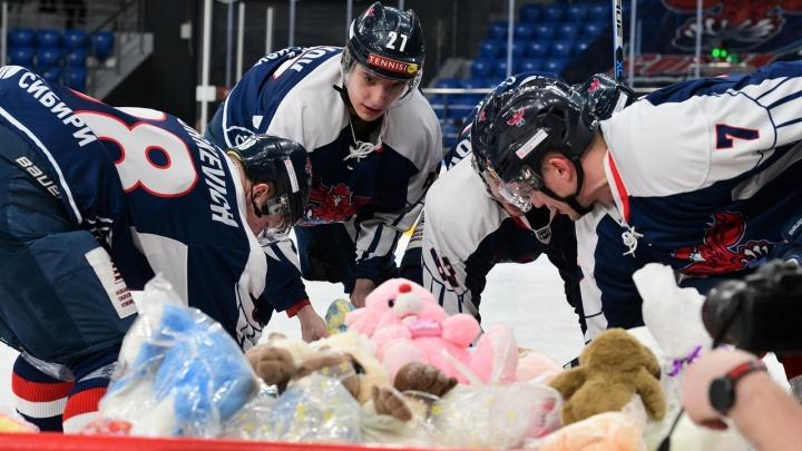 Рекордный игрушкопад: на хоккейном матче красноярцы собрали больше 500 игрушек для детских домов