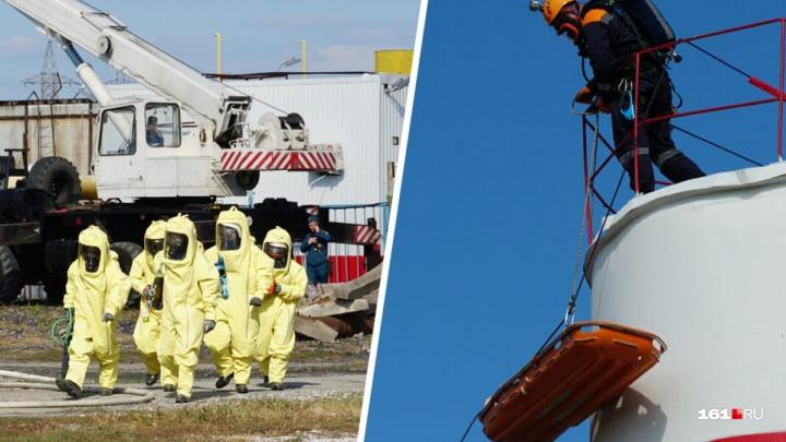 «Пожар из дымовых шашек на ТЭЦ-2»: смотрим на учения МЧС в фоторепортаже 161.RU
